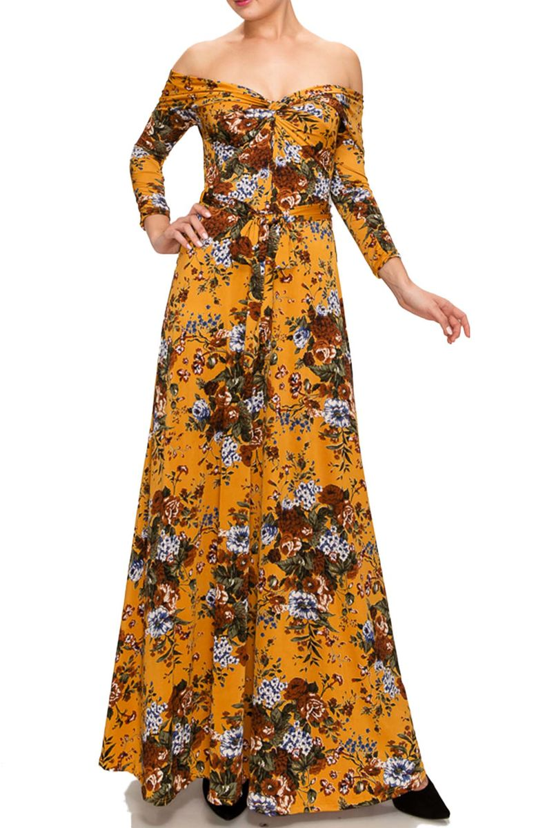 Floral bouquet off shoulder maxi dress - product images  of