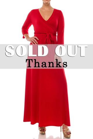 Plus,Size,Red,maxi,wrap,dress,red apparel, Janette fashion, Janette, Janette fashion red maxi wrap dress, wrap dress