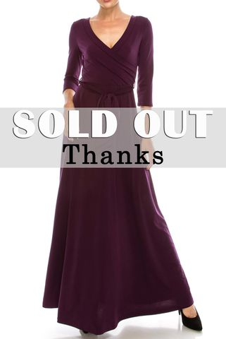 Plum,maxi,wrap,dress,red apparel, Janette fashion, Janette, Plum maxi wrap dress, wrap dress