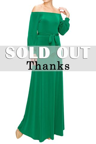 Green,off,the,shoulder,with,long,cuff,sleeve,maxi,dress,red apparel, Janette fashion, Green off the shoulder with long cuff sleeve maxi dress