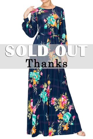 Full,of,blue,bouquet,long,cuff,sleeve,round,neck,maxi,dress,Full of blue bouquet long cuff sleeve round neck maxi dress