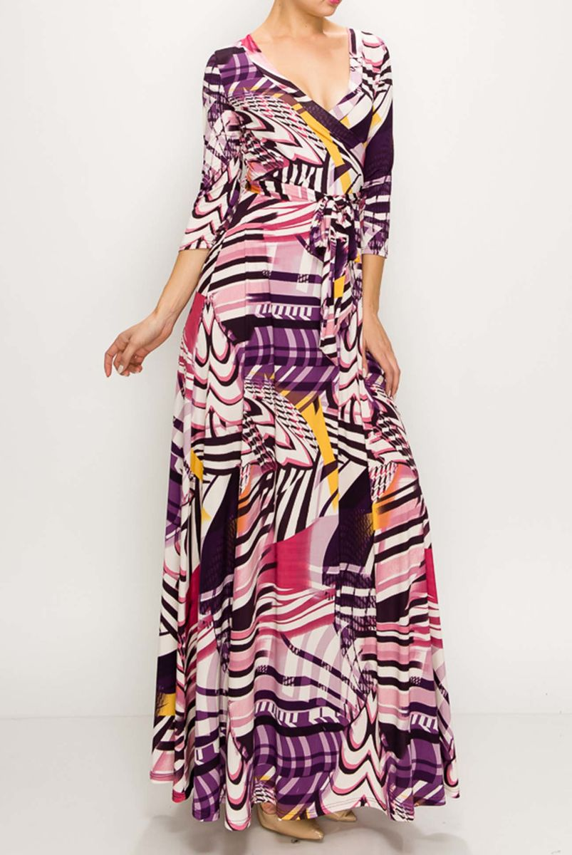 Zig zag in plum maxi wrap dress  - product images  of