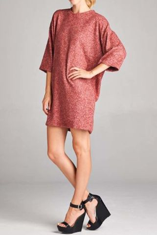 Oversized,wide,three,quarter,length,sleeve,dress,Cardigan