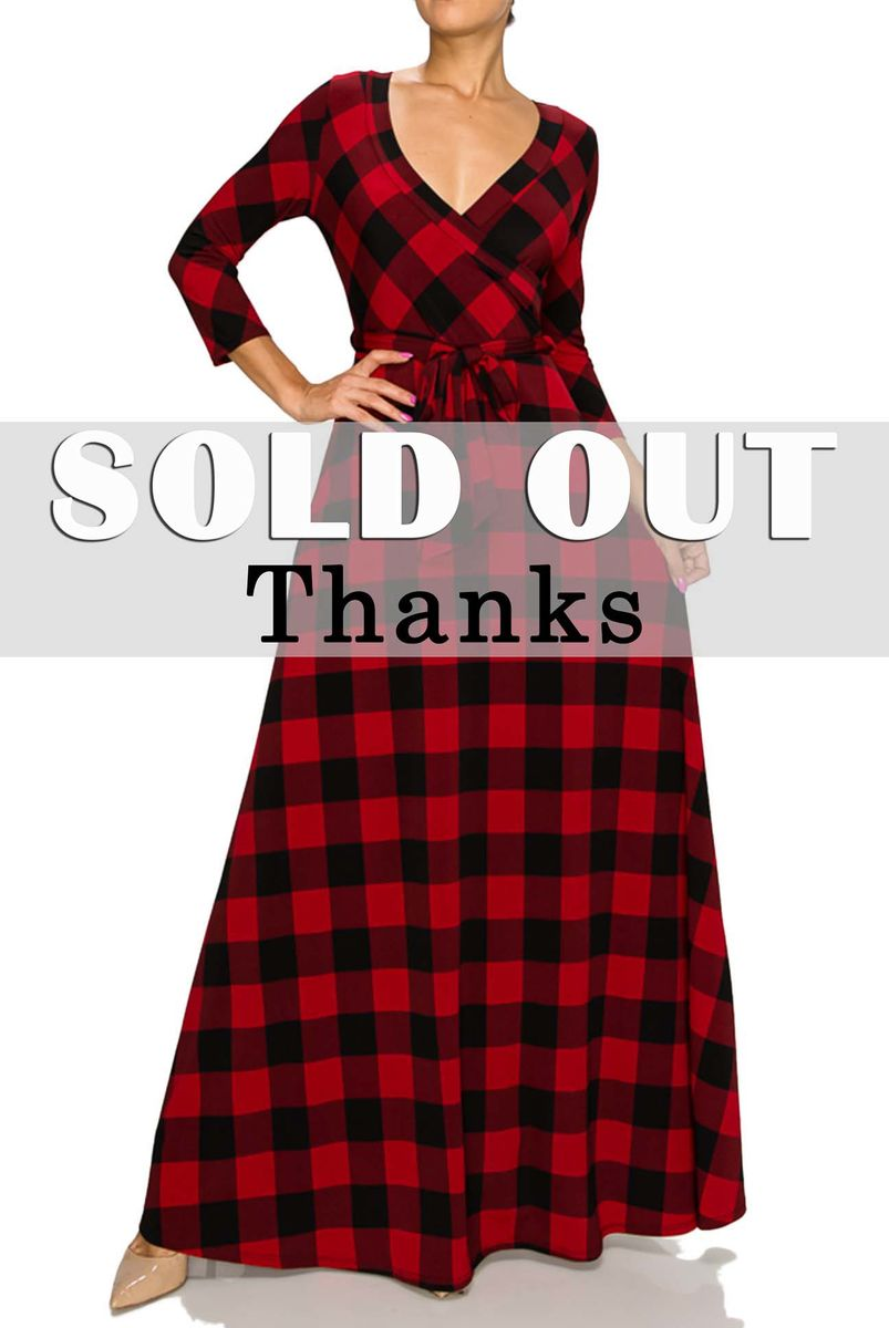 New holiday checker maxi wrap dress - product images  of