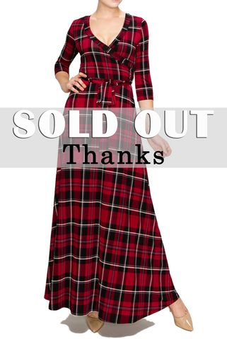 Holiday,checker,maxi,wrap,dress,red apparel, Janette fashion, Janette,Holiday checker maxi wrap dress
