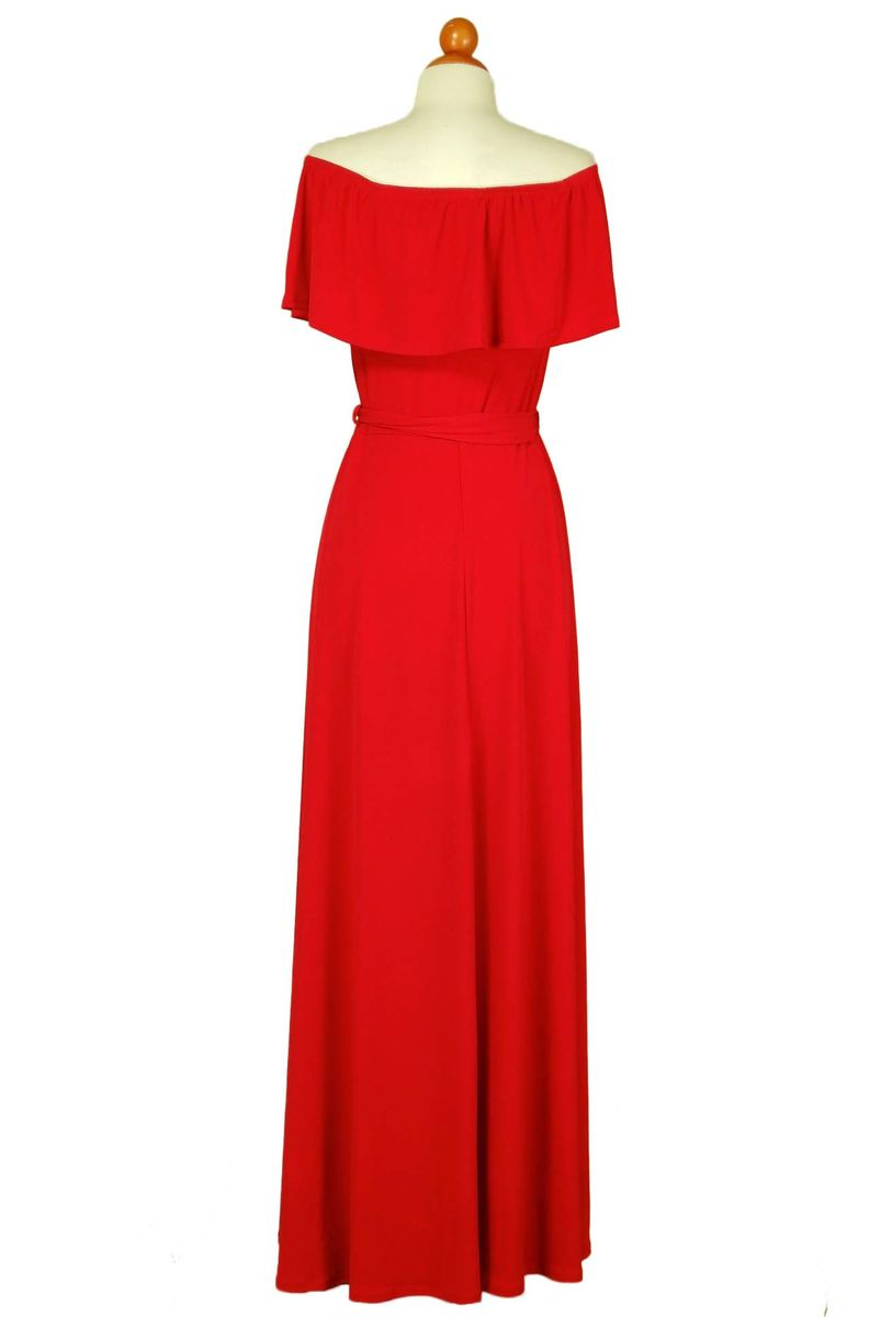 Red off the shoulder maxi dress - product images  of