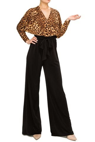 Animal,print,jump-suit,with,dolman,sleeve,Black wrap jump-suit with long split cuff sleeves, red apparel, janette fashion, Janette fashion jumpsuit, Janette jumpsuitjamper