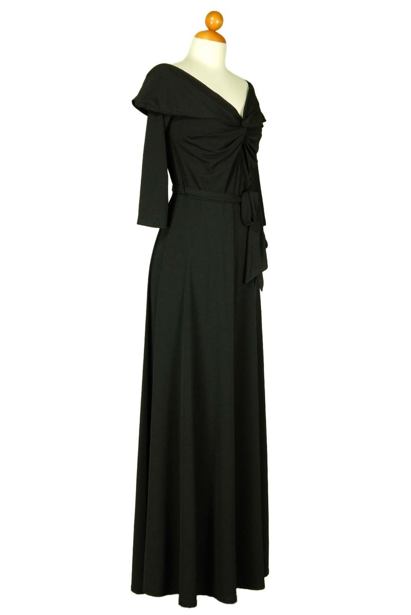 New solid off shoulder maxi dress in black - product images  of