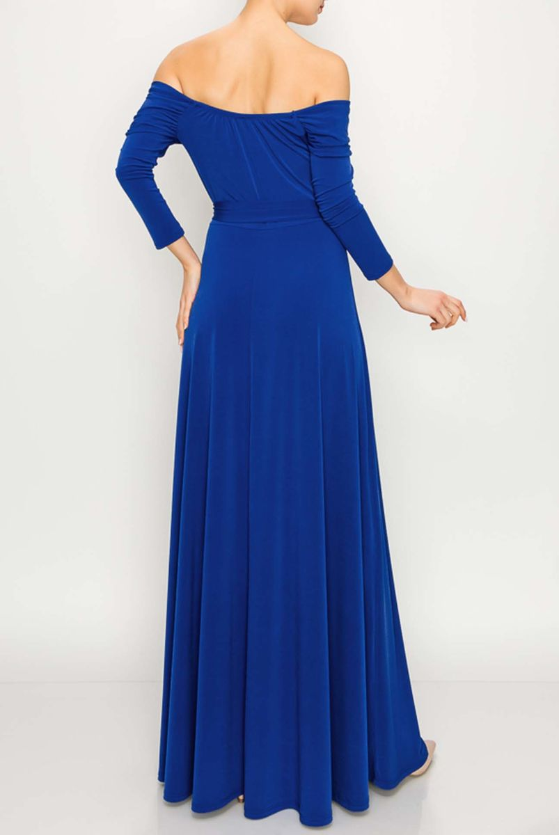 New solid off shoulder maxi dress in royal - product images  of