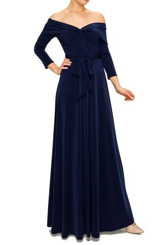 New,solid,off,shoulder,maxi,dress,in,navy,red apparel, Janette fashion, New solid off shoulder maxi dress in navy