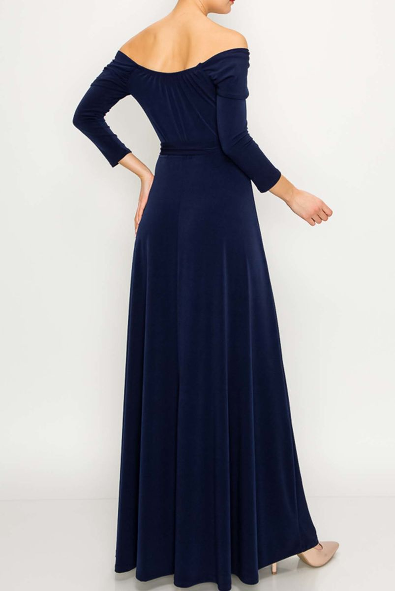 New solid off shoulder maxi dress in navy - product images  of