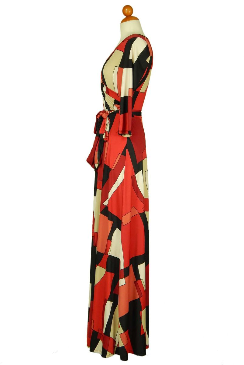 Maze in red maxi wrap dress - product images  of