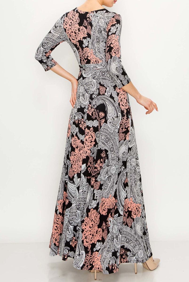 Paisley in white pink maxi wrap dress  - product images  of