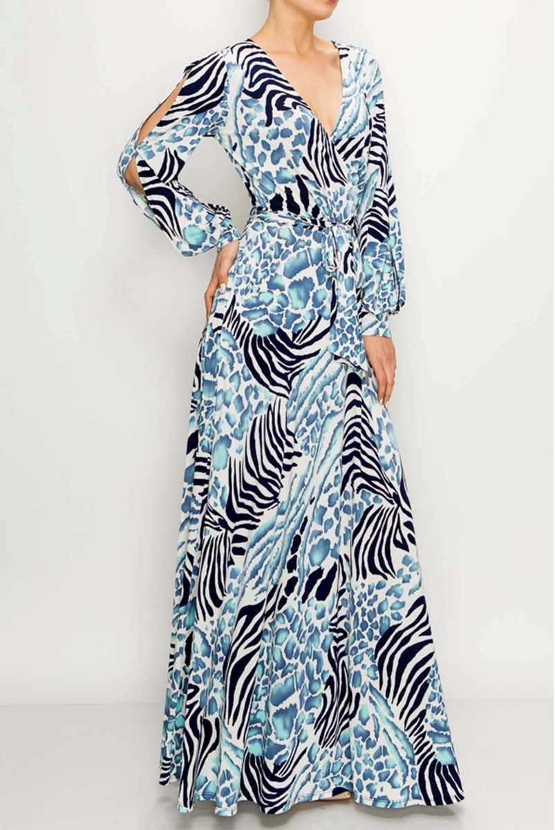 Electric Blue animal print long split cuff sleeve maxi wrap dress  - product images  of