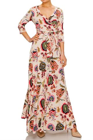 Retro,floral,maxi,wrap,dress,red apparel, Janette fashion, Janette, Retro floral maxi wrap dress