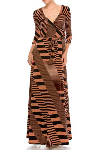 Inception,in,brick,maxi,wrap,dress,red apparel, Janette fashion, Janette, Inception in brick maxi wrap dress