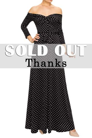 Black,polka,Dot,off,shoulder,maxi,dress,red apparel, Janette fashion, Polka Dot off shoulder maxi dress