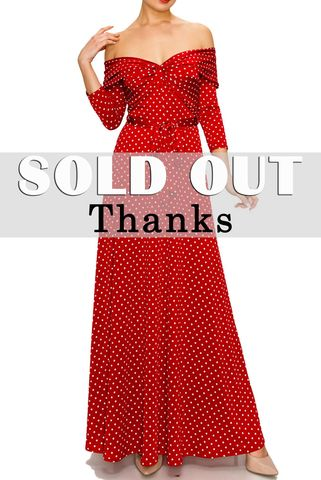 Polka,Dot,off,shoulder,maxi,dress,red apparel, Janette fashion, Polka Dot off shoulder maxi dress
