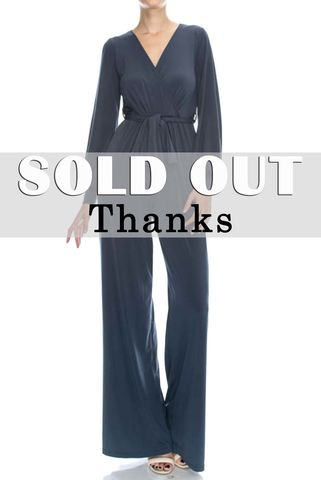 Charcoal,jump-suit,with,long,closed,cuff,sleeves,Black wrap jump-suit with long split cuff sleeves, red apparel, janette fashion, Janette fashion jumpsuit, Janette jumpsuitjamper