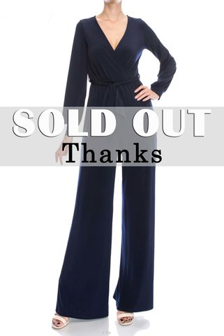 Navy,jump-suit,with,long,closed,cuff,sleeves,Black wrap jump-suit with long split cuff sleeves, red apparel, janette fashion, Janette fashion jumpsuit, Janette jumpsuitjamper