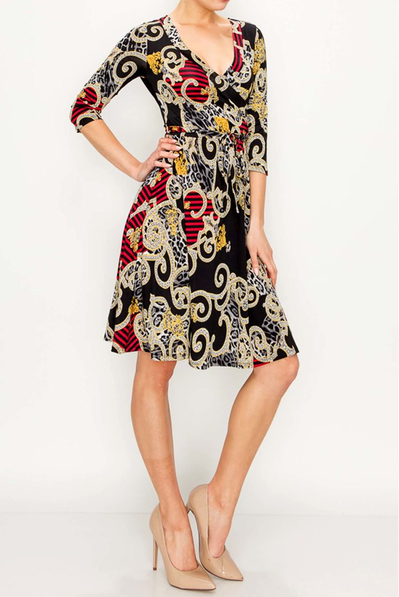 Swirl in black wine wrap dress - product images  of