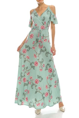 Mini,rose,in,sage,ruffled,cold,shoulder,maxi,dress,red apparel, Janette fashion, Mini rose in sage ruffled cold shoulder maxi dress