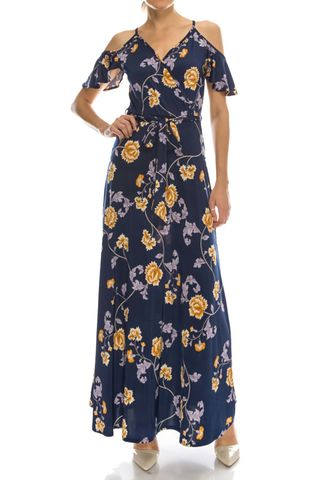 Mini,rose,in,nave,ruffled,cold,shoulder,maxi,dress,red apparel, Janette fashion, Mini rose in navy ruffled cold shoulder maxi dress