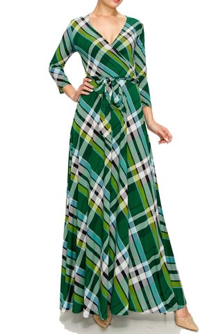 Checker,in,green,maxi,wrap,dress,red apparel, Janette fashion, Janette,Checker in green maxi wrap dress