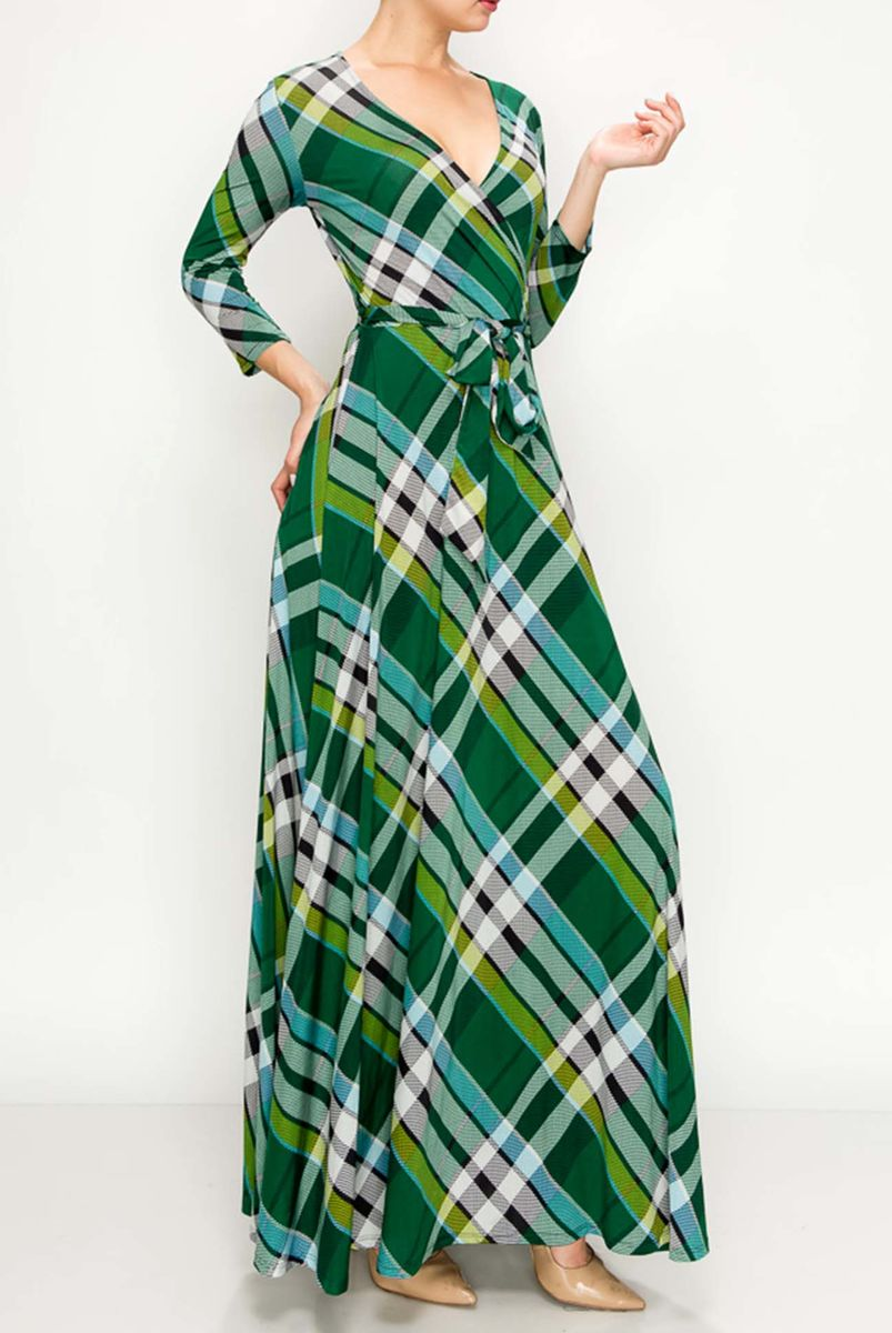 Checker in green maxi wrap dress - product images  of