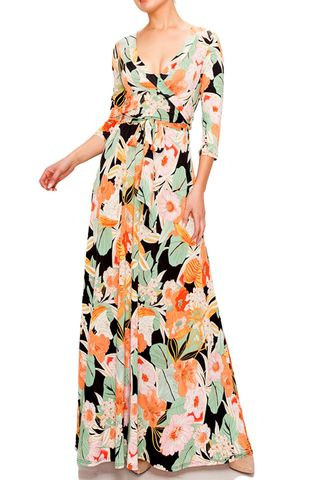 Flower,garden,in,spring,maxi,wrap,dress,red apparel, Janette fashion, Janette, Flower garden in spring maxi wrap dress