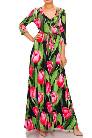 Tulip,garden,maxi,wrap,dress,Tulip garden maxi wrap dress  , redapparelonline, 6ws, Janette fashion, Janette, Maxi wrap dress, wrap dress, work dress, vacation dress, affordable wrap dress
