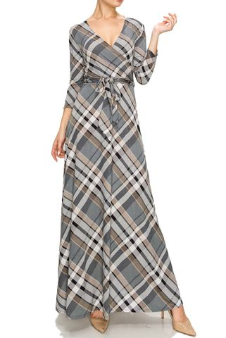 Checker,in,gray,maxi,wrap,dress,red apparel, Janette fashion, Janette, Checker in gray maxi wrap dress