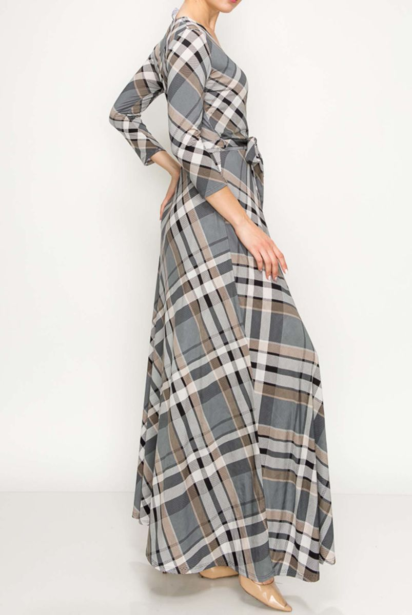 Checker in gray maxi wrap dress - product images  of