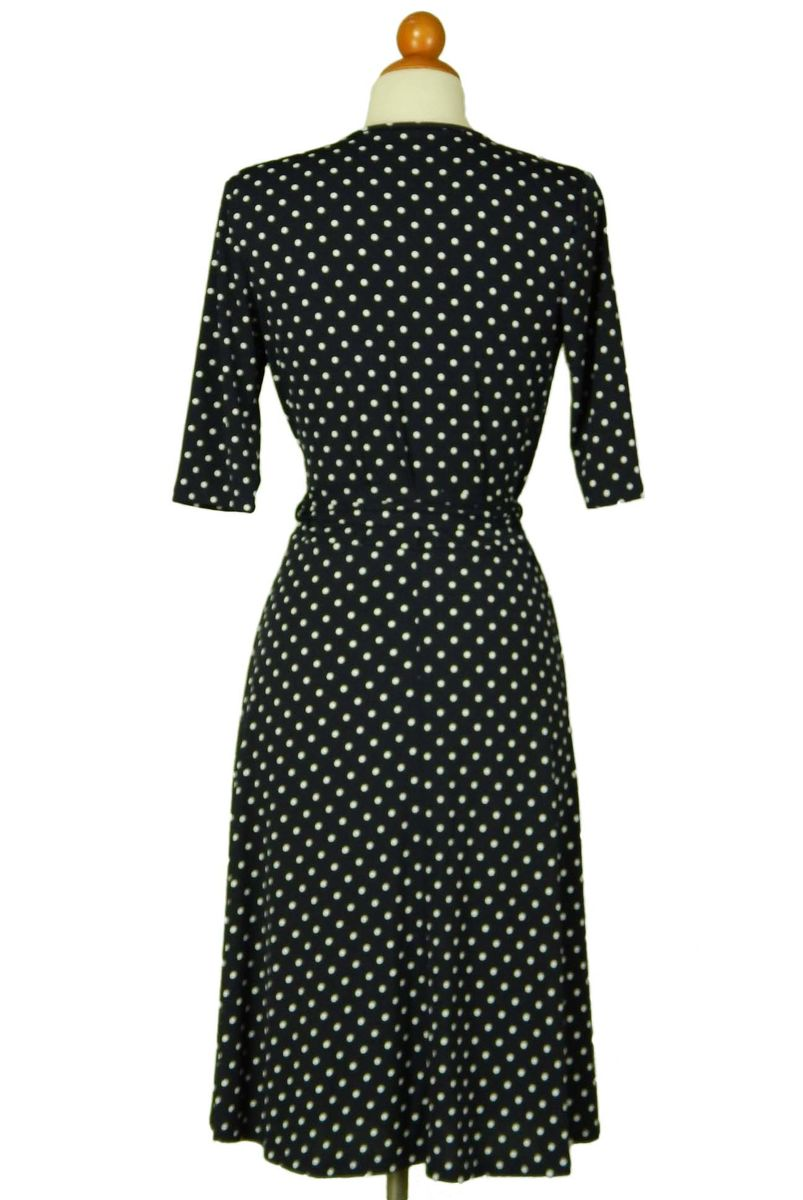 Polka dot in navy wrap dress - product images  of