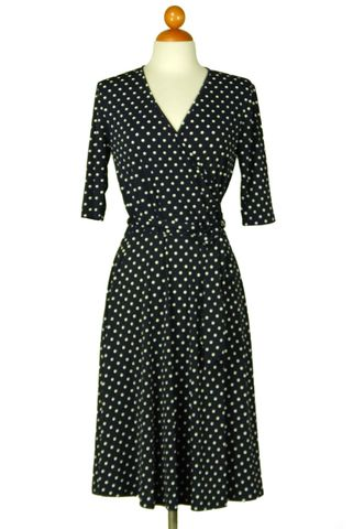 Polka,dot,in,navy,wrap,dress,Polka dot in navy wrap dress, Janette fashion wrap dress, Janette wrap dress, wrap dress, work dress, vacation dress