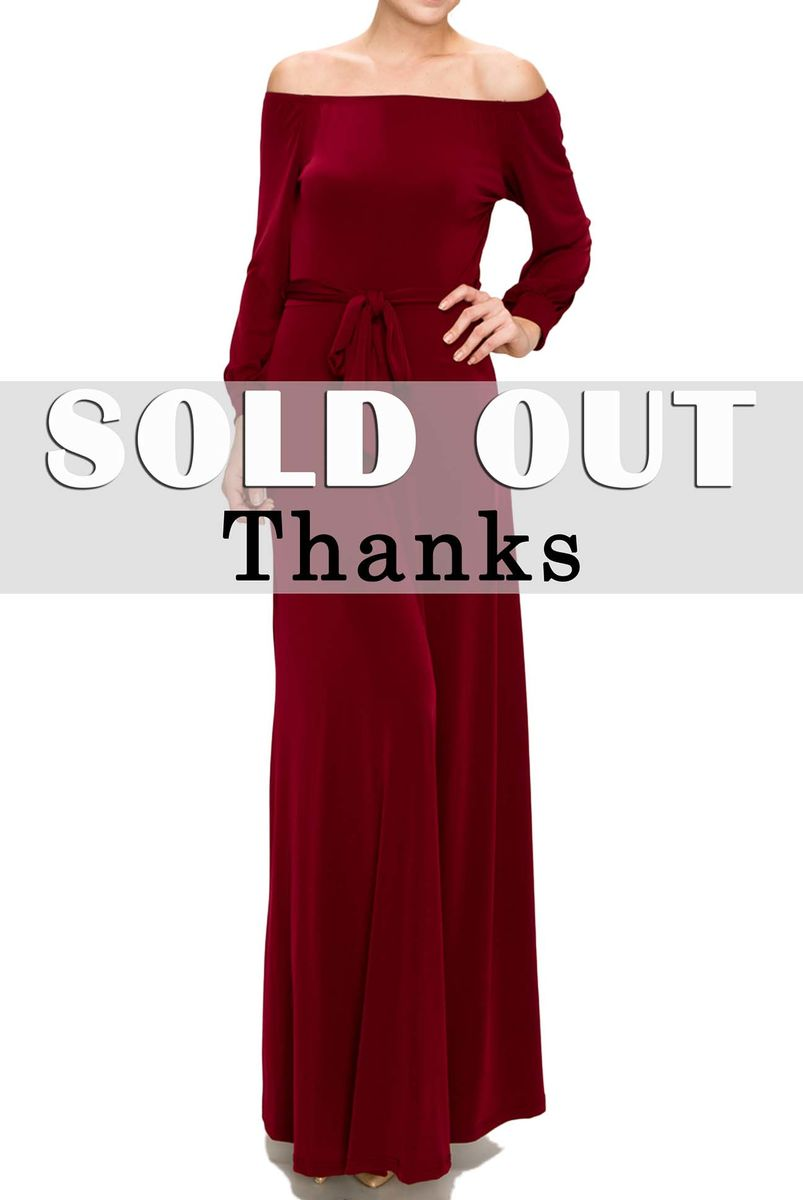 Burgundy off the shoulder with long cuff sleeve maxi dress - product images  of