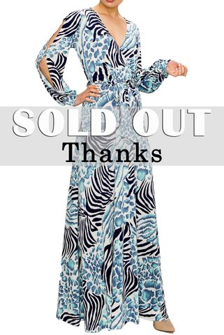 Electric,Blue,animal,print,long,split,cuff,sleeve,maxi,wrap,dress,red apparel, Electric Blue animal print long split cuff sleeve maxi wrap dress , wrap dress