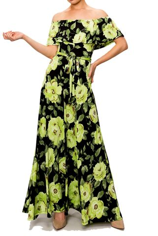 Lime,floral,off,the,shoulder,maxi,dress,red apparel, Lime floral off the shoulder maxi dress