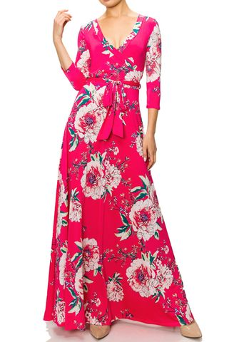 Cotton,candy,floral,maxi,wrap,dress,red apparel, Janette fashion, Janette, Cotton candy floral maxi wrap dress