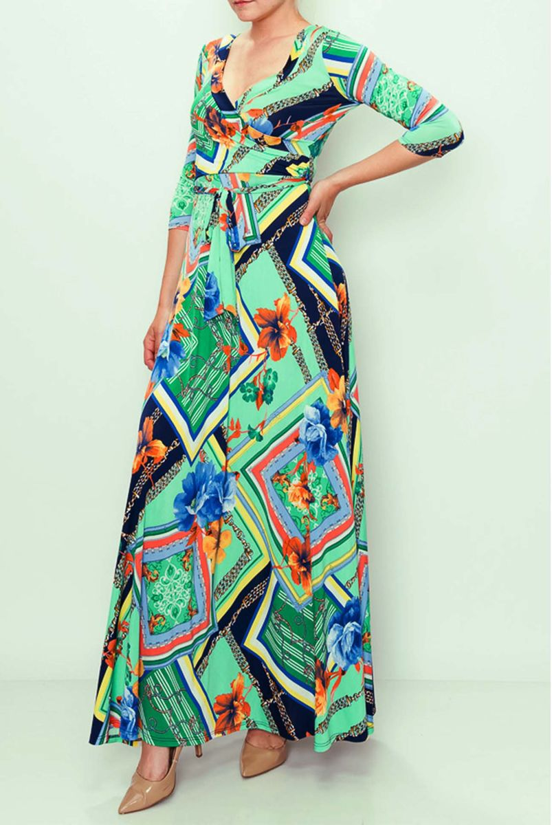 Minty floral maxi wrap dress  - product images  of
