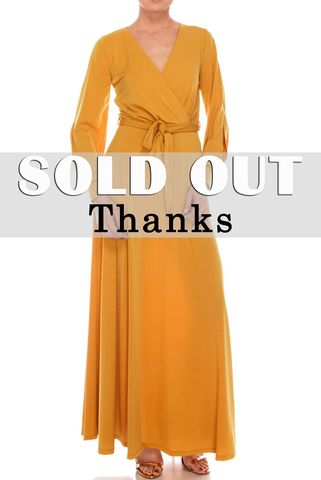 Mustard,long,split,cuff,sleeve,maxi,wrap,dress,red apparel, Janette fashion, Mustard long split cuff sleeve maxi wrap dress  , wrap dress