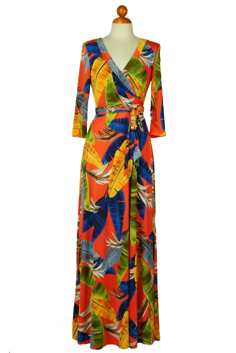 Vivid feathers maxi wrap dress - product images  of