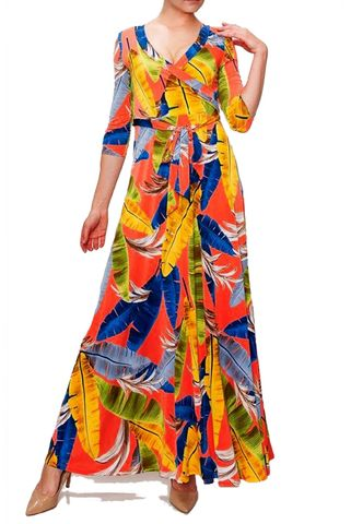 Vivid,feathers,maxi,wrap,dress,red apparel, Janette fashion, Janette, Vivid feathers maxi wrap dress