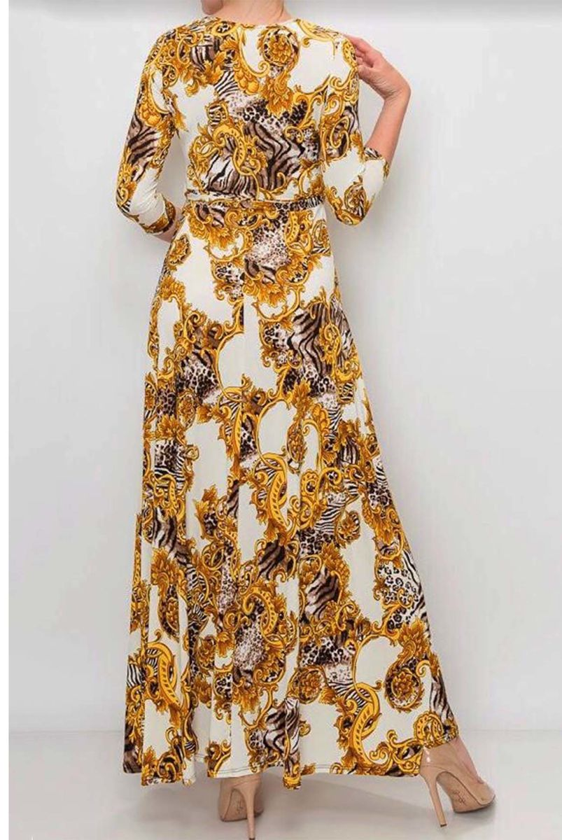 New versace print in ivory maxi wrap dress  - product images  of