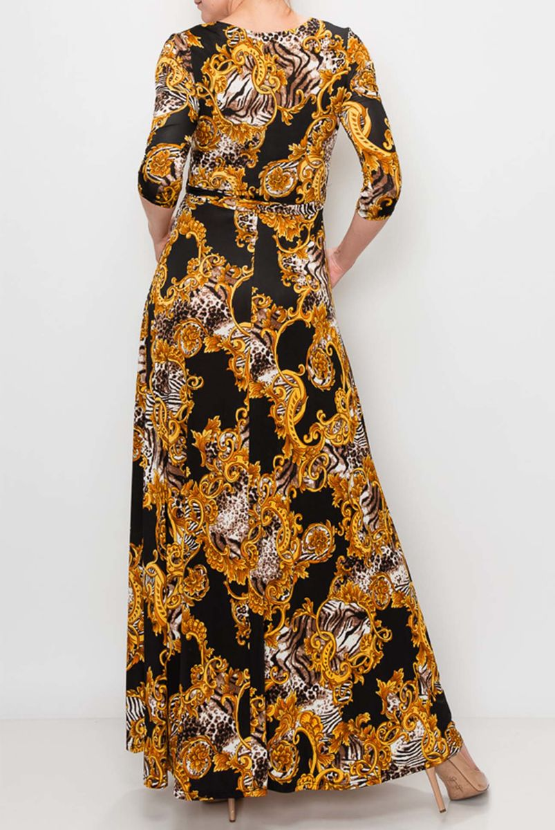 New versace print in black maxi wrap dress  - product images  of