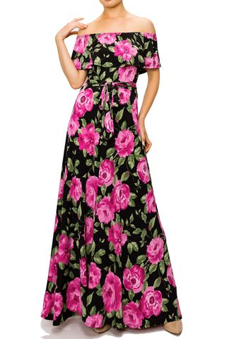 Summer,floral,off,the,shoulder,maxi,dress,red apparel,Summer floral off the shoulder maxi dress