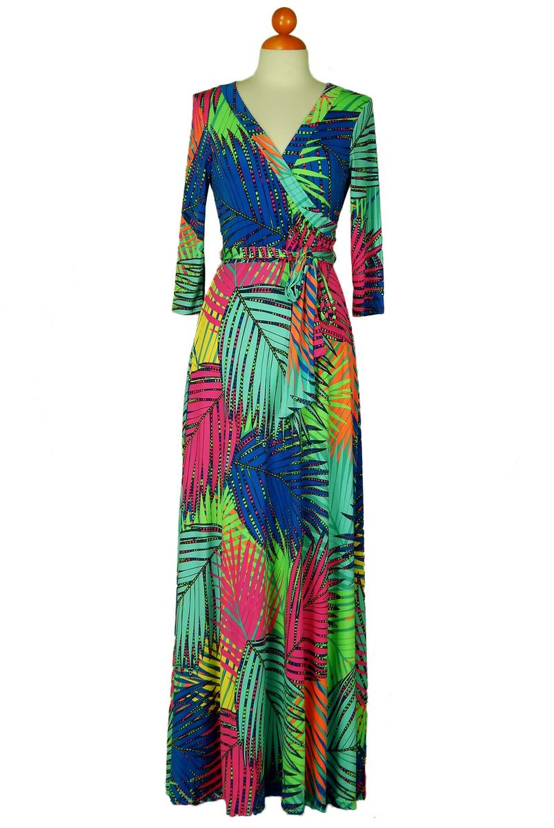 Rainbow palm maxi wrap dress  - product images  of