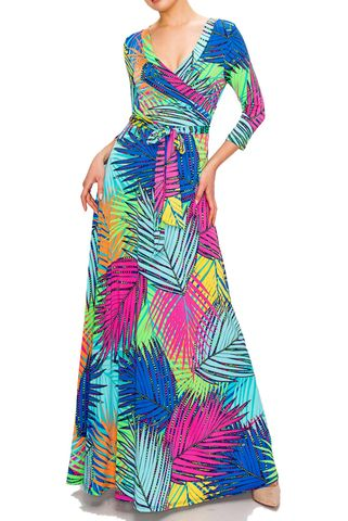 Rainbow,palm,maxi,wrap,dress,Rainbow palm maxi wrap dress   , redapparelonline, 6ws, Janette fashion, Janette, Maxi wrap dress, wrap dress, work dress, vacation dress, affordable wrap dress