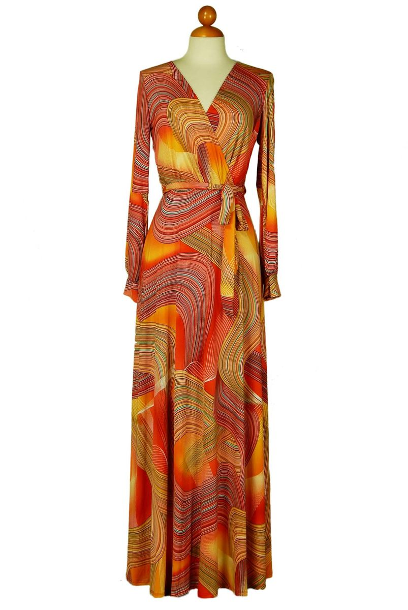 Swirl in orange long split cuff sleeve maxi wrap dress  - product images  of