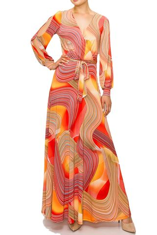Swirl,in,orange,long,split,cuff,sleeve,maxi,wrap,dress,red apparel, Swirl in orange long split cuff sleeve maxi wrap dress  , wrap dress